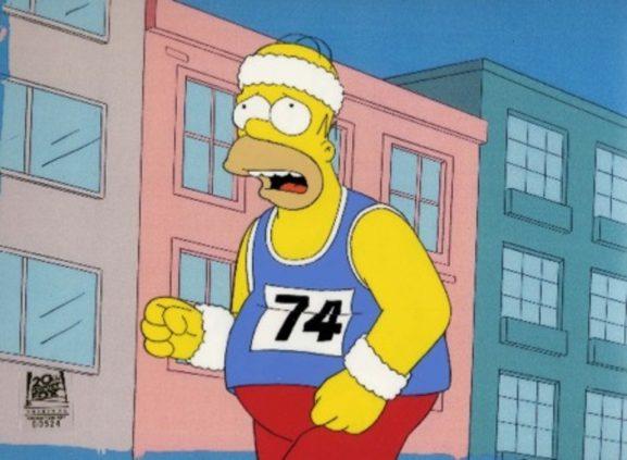 усталый Гомер бежит